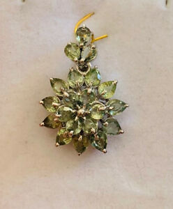 925 Silver Cluster Pendent With Natural Pear Green Sapphire 4.50GM