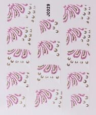 Nail Art Decal Stickers Glitter Nail Tips Pink & Gold JC029