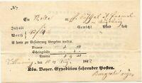 """BAYERN 1842, """"TITTMONING"""" hs. Kab.-Fahrpost-Aufgabe-Schein, Scheingebühr 4 Kr."""