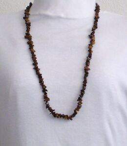 Necklace Tiger's Eye Stone Brown 34 in Collar Beauty Handmade GB USA New