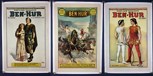 UltraRare BEN HUR Set of 3 1912 Stage Play Posters LINEN One Sheet Movie Poster