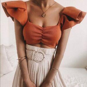 Zara Ruffled Knit Crop Top Size LARGE BNWT