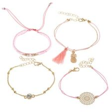 4Pcs/set Women Pink Ethnic Boho Multilayer Tassel Bracelet Bangle Summer Jewelry
