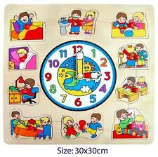NEW Wooden 'Time To Do Things' Children Puzzle Clock