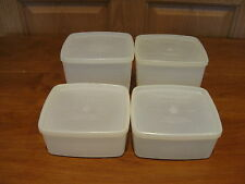 TUPPERWARE 4 vintage square-round freezer containers w/lids 2-#311 and 2-#312