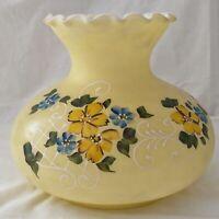 Vtg Hurricane Lamp Globe Shade GWTW Handpainted Moriage Yellow Glass Victorian