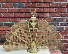 Vintage Brass Art Deco Style Fireplace Screen Folding Peacock Fan 37.5 Inches