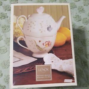 3 Piece Stackable Lenox Butterfly Meadow Tea Set New In Box