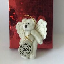Boyds Bears Wuzzies Angel Pin Ornament Twinkle F. Wuzzie Cream White Gold Stitch