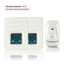 Wireless Digital  2 Receiver 1 Sender Door Chime Doorbell+Temperature Display