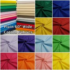 "Plain Multi Use 100% Cotton 60"" Wide Dressmaking + Craft + Curtain Lining Fabric"