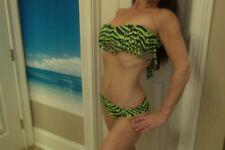 Guess Green & Black Zebra Striped Bikini Bathing Suit, Bandeau w/ Fringe, M NWT