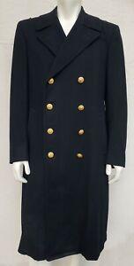 Vintage US Navy Officers HEAVY 39 LONG Bridge Coat /Overcoat 100% WOOL