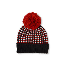 Unisex Braided  Pom Pom Beanie HAT size S/M (4-7YR)