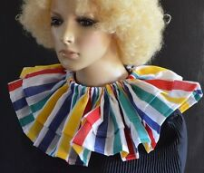 STRIPED CLOWN RUFF/RUFFLE CIRCUS COLLAR multi coloured ADULT SIZE layered