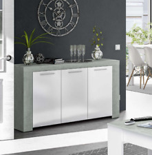 CUBO LARGE GREY WHITE GLOSS SIDEBOARD STORAGE CUPBOARD LOUNGE DINING FURNITURE