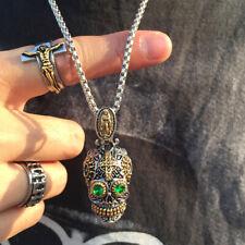 Sugar Skull Head Men Boy Necklace Pendant Mexican Day of The Dead Gift Box Chain