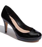 Vince Camuto Zella Pump Women's Sz 7.5 B Black Patent Slip On Platform Heel Shoe