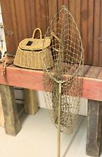 "Antique Pair Wicker Fishing Basket & 44"" Richardson Chicago Fishing Net"