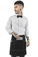 Under NY Sky Half Deep Black Apron with Durable Twill – Bistro HSTST1118.3F1L27