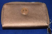 HSN JOY METALLIC E*LITE GENUINE LEATHER WALLET WITH RFID PROTECTION GOLD NEW/TA