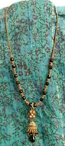 vintage ethnic  MIDDLE EASTERN OR INDIAN PRETTY BLACK BEADED NECKLACE