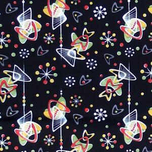 Hot Rockin Retro ATOMIC BOOMERS Sputnik Starburst Boomerang Fabric - Black