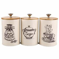 3Pcs Food Storage Canisters Retro Design Sugar Bowl Tea Box With Lid Containers