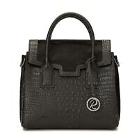 a95e87f5334 Raviani New Satchel in black embossed crocodile   Hair on Cowhide Leather