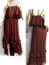 Venus brown sheer thin strap tiered high low maxi dress 2X