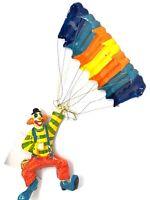 """Vintage Paper Mache Clown w Lollipop Hanging Parachute Mexico Vibrant 25"""" Long"""