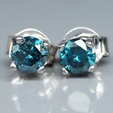 FASCINATE! 0.45 Carat Natural Fancy Blue DIAMOND EARRING in 925 Silver
