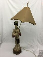 Chalkware Geisha Lamp Mint Condition 34� Stamped 1946