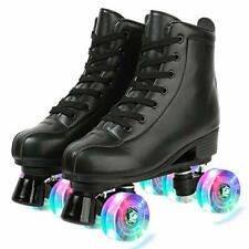 New listing Roller Skates PU Leather High-top Roller Skates Four-Wheel Roller Skates Shin...
