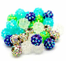 10 Perles Ronde résine strass couleur mixte 12 mm