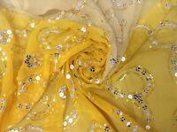 Om Vintage Dupatta Georgette Hand Beaded Yellow Scarves Stole Veil Hijab AD-1919
