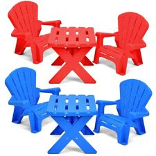Children Plastic Table And Chairs Kids Nursery Garden Set in Red and Blue