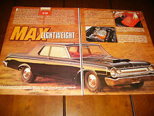1964 DODGE SUPER STOCK FACTORY LIGHTWEIGHT RACE CAR ***ORIGINAL 1995 ARTICLE***