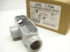 "BOX OF 10- OZ GEDNEY OZG T-75A ¾"" ALUMINUM CONDUIT BODY"