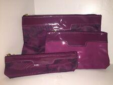 NEW! ESTEE LAUDER Cosmetic Clutch Bag Set Trio Fuschia & BONUS SEOPHORA SAMPLES!