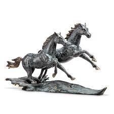 "WILD STALLIONS 21.5"" BRASS SCULPTURE * Galloping Rearing Horses Figure Statue"