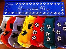 LITTLE BOYS SOCCER/FEET  BOXED BABY   NON SLIP SOCKS SET 6 PAIRS   0-12 MONTHS