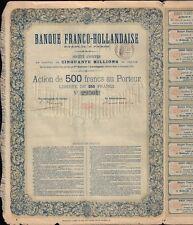 Banque Franco Hollandaise 1874 Paris  ( Bank France / Netherlands )