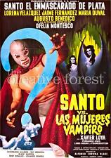 SANTO VS. VAMPIRE WOMEN, Vintage Movie Poster Rolled CANVAS ART PRINT 24x32 in