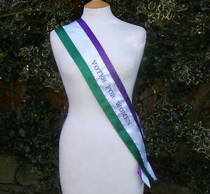 Embroidered Women's Movement Suffragette sash costume  re-enactment