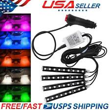 4X 9 LED Car Interior Footwell 16 Colors Changing Strip Lights + IR Control