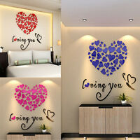 3D Acrylic DIY Wall Stickers Heart Art Decal Mural Vinyl Home Decor Removable UK