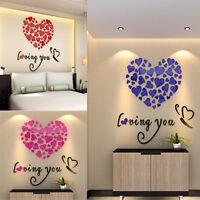 3D Acrylic DIY Wall Stickers Heart Art Decal Mural Vinyl Home Decor Removable UK