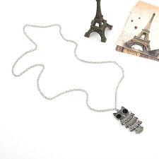 Hot femmes mode style vintage silver owl longue chaîne collier pendentif bijoux f