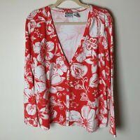 Chico's Women's Cardigan Top Size 3 (XL, 16) Cotton Spandex Blend Floral